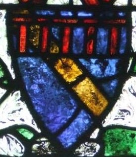 The coat of arms of Carminow in a window in Bere Ferrers, Devon