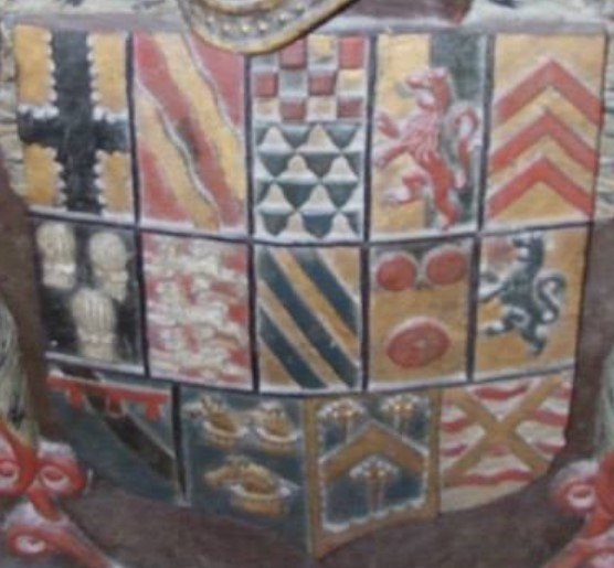 The coat of arms of Mohun at Lantaglos, Cornwall, showing 14 quarters.
