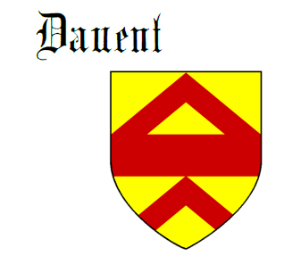 Fess between two chevrons Davent