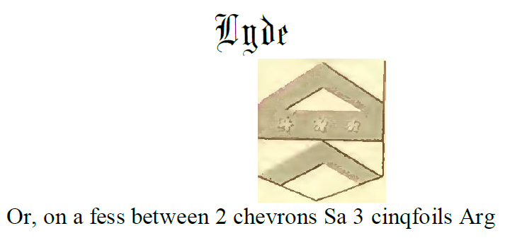 Fess between two chevrons Lyde