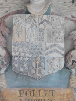 Coat of arms of William Pole in St Andrew's church, Colyton, Devon